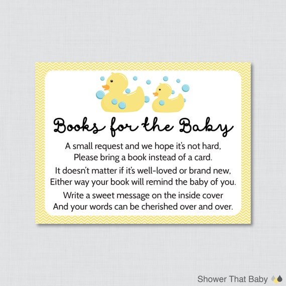 rubber ducky baby shower printable bring a book instead of a card