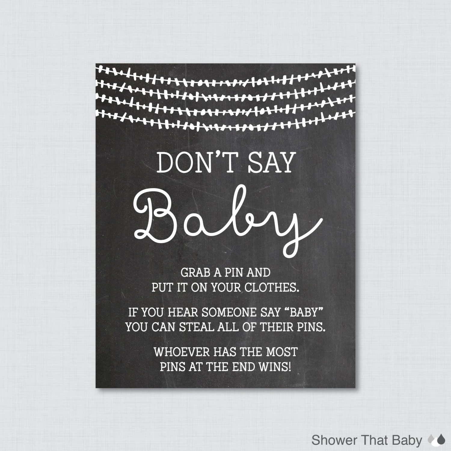 Don T Say Baby Baby Shower Game Printable Chalkboard