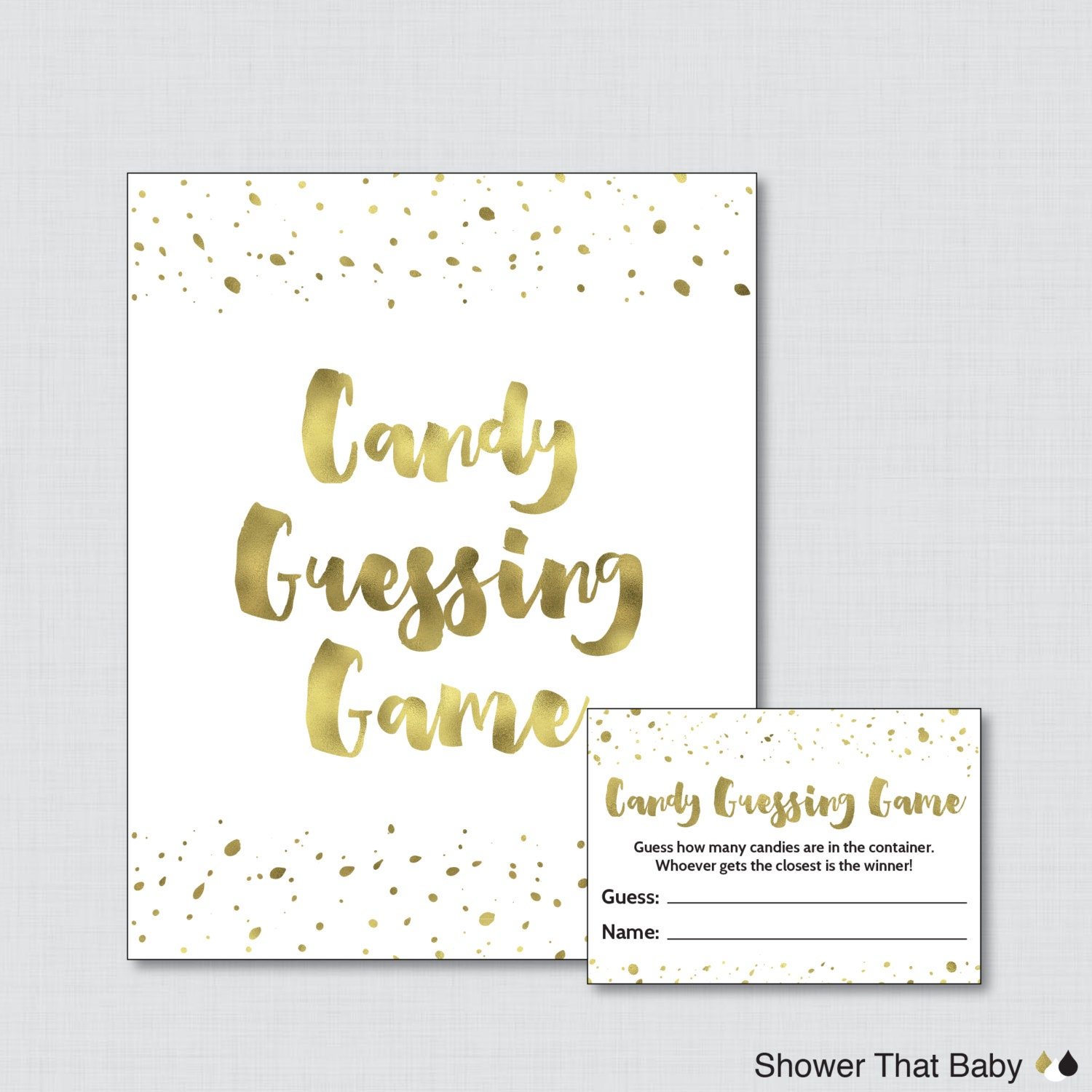 white and gold baby shower candy guessing game printable