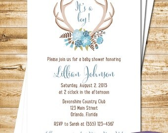 Floral Antlers Baby Shower Invitation - Blue Boy Baby Shower Invite - Hello Dear Baby Shower Its a Boy Deer Rustic Woodland -1383 PRINTABLE