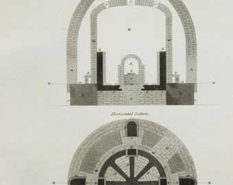 1820 Antique Engineering Print , Steel Engraving. Pottery Kiln, Oven