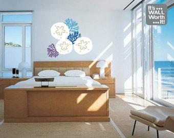 Sand Dollars with Coral Vinyl Wall Decal -Bathroom or Bedroom Wall Sticker