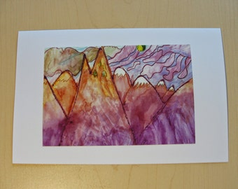 Sunset Mountains - Greeting Cards - Set of 5 - All Occassion