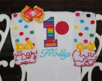 Baby Girl Rainbow First Birthday Outfit! Candy Land First Birthday Outfit/Candyland Birthday Outfit/First Birthday Outfit/Lollipop birthday