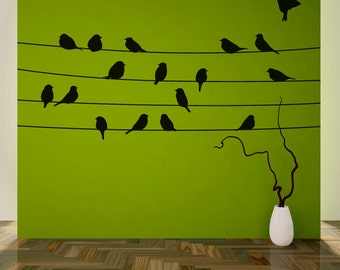 Living Room/Bedroom Wall Decal: Birds on Wires