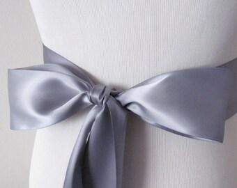 Gray Ribbon Sash / Double Faced Ribbon Sash / Bridal Sash  /Bridal  / Gray