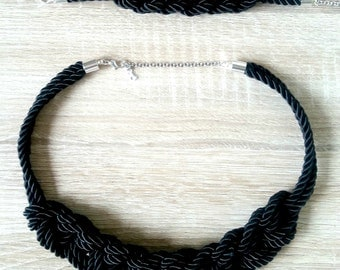 Black Rope Necklace, Braided Necklace, Knot Necklace, Navy Necklace, Nautical Rope Necklace, Statement Necklace, Chunky Black Necklace