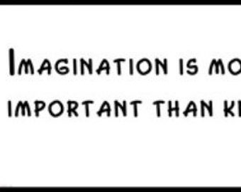 Wall Quote - ALBERT EINSTEIN - Imagination is more important than knowledge.
