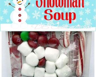 Snowman Soup Christmas Treat Bag Header, Printable DIY Party Decorations, School Treat bag label, Christmas favor gift, Snowman decorations