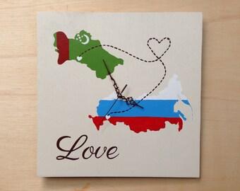 Love Map Wooden Wall Clock, State Wood wedding gift, Destination wedding sign