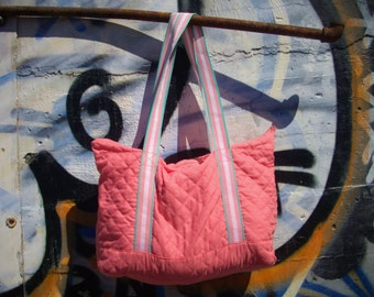 90's Kawaii Pastel Salmon Quilted Tote Bag