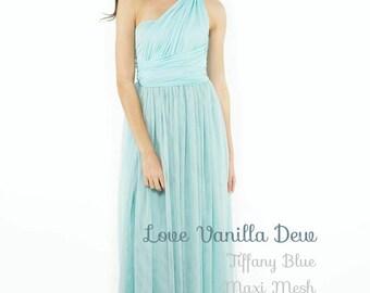 Bridesmaid Dress Infinity Dress Pastel Blue with Mesh Maxi Floor Length Wrap Convertible Dress Wedding Dress