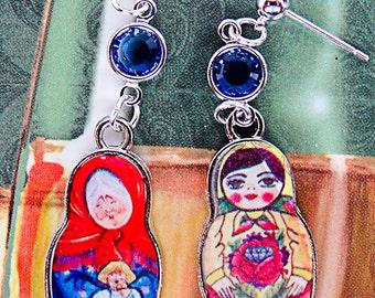 MATRYOSHKA DOLL EARRINGS, Matryoshka jewelry, Russian doll, Russian earring, travel earrings, travel jewelry,Russian jewelry - 0645