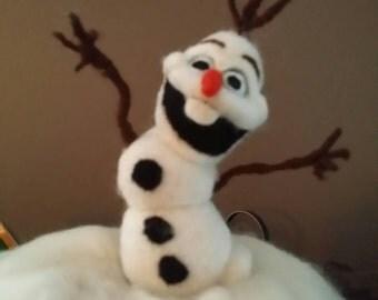 One Of A Kind - OOAK - Olaf 6 inch Handmade  Needle Felted Wool.