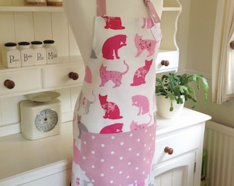 Pink Cats Apron, Pink Dotty Apron, Adjustable Apron, Full Apron, Ladies' Apron