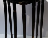 Set of 3 Black Lacquered with Gold Trim Wood Triangular Stacking Tables with Holder