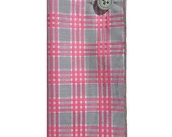 Gray and Pink Plaid Pocket Square