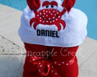 Red Crab Hooded Towel MONOGRAM INCLUDED