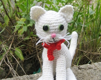 Crochet pattern amigurumi white cat - Amigurumi cat pattern - Easy crochet pattern - Crochet kitten pdf pattern