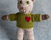HANDKNIT STUFFED KITTEN 13 inches tall in sweater