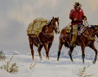 "Western Artist: Ron Stewart, Water Color Painting, ""Packing Memories"", CA 1977, #724"