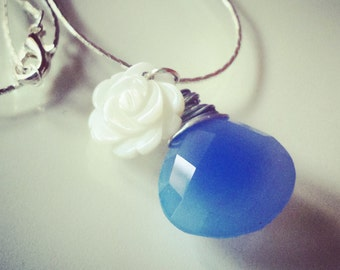 Thin snake necklace. Blue Onyx Briolette and Mother of Pearl flower cammeo charm.