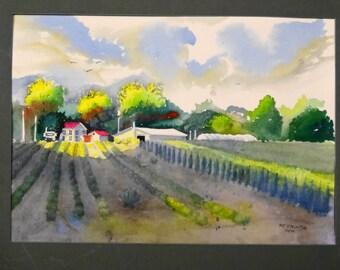 Original watercolor landscape-fields-trees- nursery-sunlight on buildings-plants