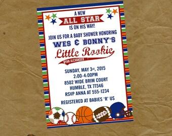 ALL STAR Sports Baby Shower Invitation Invite