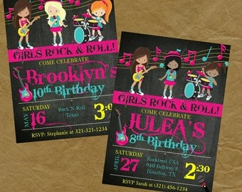 Girls ROCKSTAR BAND Birthday Party Invitation - Digital or Printed
