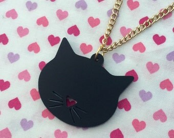 Black Kitty Silhouette Necklace