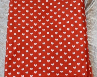 Sweet vintage Fabric duvet cover: red with white apples. Made in Sweden Scandinavian. More than 3,5 yd.