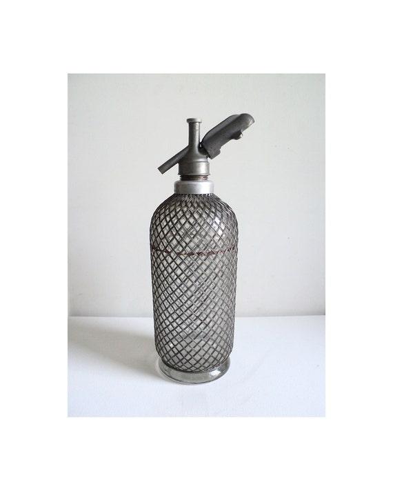 bouteille siphon eau de seltz siphon soda verre m tal. Black Bedroom Furniture Sets. Home Design Ideas