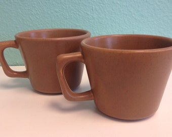 Vintage Bauer Pottery Mugs - California USA Pottery Coffee Cups - Tan Brown Speckleware - set of two - 1950s 1960s