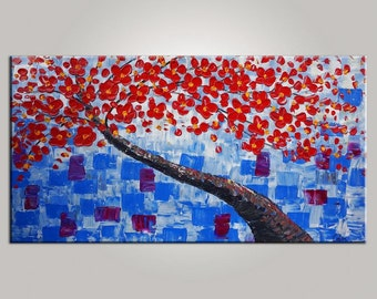 XL Landscape Painting Wall Art Canvas Art LARGE Art Original Painting Abstract Painting Impasto Texture Palette Knife Art 20x40 inches