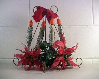 Vintage Christmas Decor Christmas Light Lighted Christmas Decoration Mid Century Christmas Retro Christmas Atomic Christmas 4-Candle Light