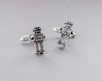 Men's Cufflinks Robot Cufflinks Robot Nerd Geekery Techie Steampunk Cufflinks Antique Silver Anniversary Gifts Gifts for Him  Men's Gifts