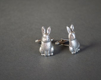 Rabbit Cufflinks Bunny Cufflinks Steampunk Cufflinks Easter Gifts Rabbit Gifts Woodland Gifts Antique Silver Gifts for Him Men's Gifts