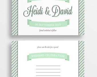 MInt and charcoal striped save the date postcard - printable save the date - DIGITAL DOWNLOAD