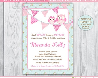 shabby chic baby shower invite / owl baby shower invitation / baby shower owl invites / owl baby shower invitation girl / pink owl baby