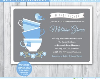 tea baby shower invitation / baby shower tea party invitation / baby shower tea invitation / high tea baby shower invitation / Afternoon tea
