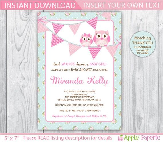 Blank Owl Baby Shower Invitations: Shabby Chic Baby Shower Invite / Owl Baby Shower Invitation