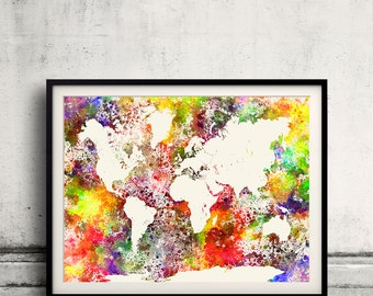 World map in watercolor painting abstract splatters - SKU 0403