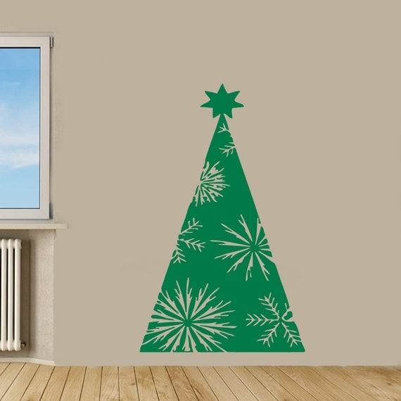 Christmas wall decals happy christmas decor christmas tree for Christmas wall mural