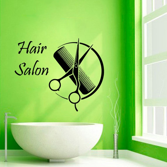 hair salon wall decals hairdressing beauty salon wall decor. Black Bedroom Furniture Sets. Home Design Ideas