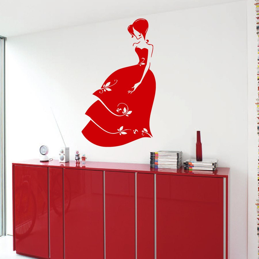 Girl Wall Decal Model Lady Floral Dress Beauty Salon Wall