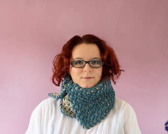 Bohemian Maleficent Neck Warmer  Double Layered Cowl Petrol Blue & Dark Cream (C19)