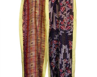 Vintage Reversible Kantha silk scarf hand stitched brand new one-of-a-kind artwork with silk border and mirror tassels - Free shipping in US