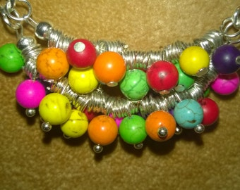 Bib Style Necklace Colourful Genuine Gemstone Magnesite Bubble Wire Wrapped Beaded Silver Necklace