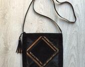 Black & Gold Vintage Suede Handbag || 80s Shoulder Bag || Italian Leather Handbag || Franco Bellini Handbag