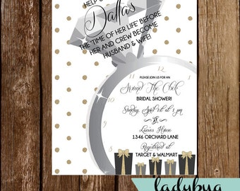 Gold Around The Clock Bridal Shower Invitation! -